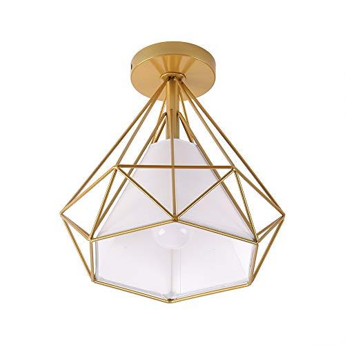 Lámparas de techo Artpad Vintage Loft LED E27 (bombilla no incluida), iluminación de techo interior, pantalla de lámpara de jaula de metal dorado, 220V para dormitorio, restaurante, hotel, estudio…