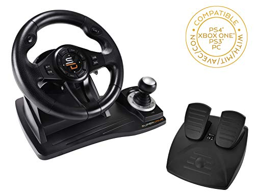 Superdrive - Volante de carreras GS500 con palanca de cambios, pedal y vibraciones para PS4, Xbox One, PC, PS3