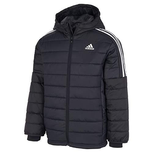 adidas Boys' Hooded Puffer Jacket, Black, Large