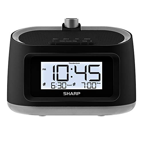 sharp radio alarms Sharp Projection Alarm Clock with Soothing Nature Sleep Sounds – Easy to Read Projection on Wall or Ceiling – 8 Sleep Sounds to Help Fall Asleep Faster (Black - Gunmetal Trim)