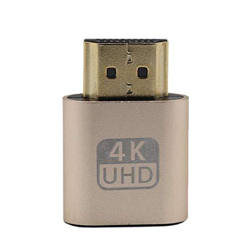 cvbf VGA HDMI Dummy Plug Emulatoradapter für virtuelle Anzeigen DDC Edid-Unterstützung 1920x1080P für Grafikkarte BTC Mining Miner(Farbe: Gold)
