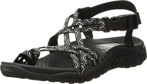 Skechers Women's Reggae-Happy Rainbow Sandal, black, 9 M US
