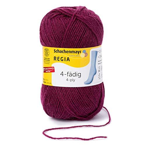REGIA 4-fädig Uni 9801276-01078 cardinal Handstrickgarn, Sockengarn, 50g Knäuel