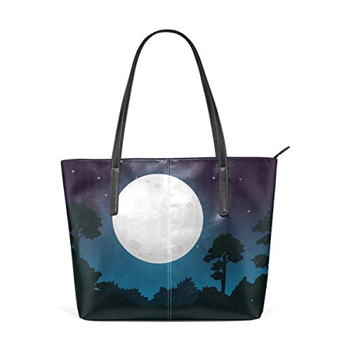 XGBags Custom Borse a spalla da donna Dark Full Moon Night Women's Tote Shoulder Bag Leather handbag