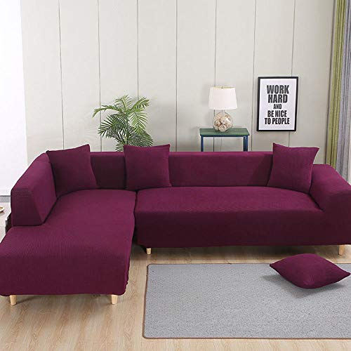 B/H Lavable/Antiácaros Funda de sofá,Funda de sofá Engrosada, Funda de sofá elástica Antideslizante-Rojo A_235-300cm,Sillón Elastano Fundas de Sofá