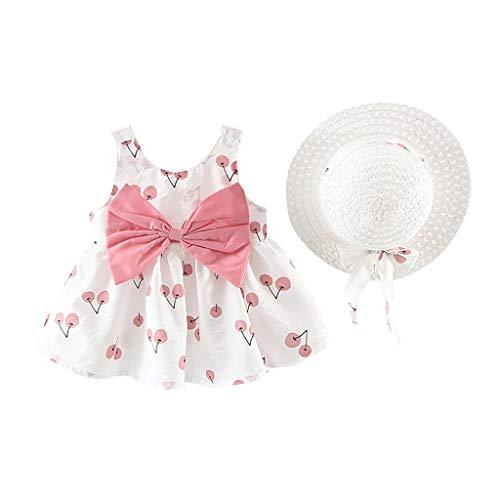 Lindo Vestido de Bebés Niña Sin Manga + Sombrero de Paja de Arco Trajes de 2 Piezas┃Vestidos de Princesa Playa con Estampado de Cereza┃Fossen Niña Ropa para Vacaciones, IR a la Escuela