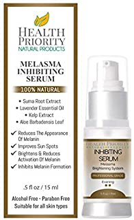 100% Natural & Organic Melasma Treatment for Face. Best Inhibiting Serum for Lightening & Dark Spot Corrector - Hydroquinone Free. Kit, Serum & Cream to Fade and Remove Pigment Problems.