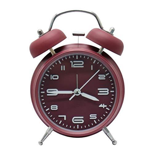 XIAQIU Reloj Despertador de Doble Campana, 4 Pulgadas Analógico Despertador de Cuarzo Silencioso Sin Tictac, Vintage Despertador con Luz de Noche para durmientes Pesados (púrpura)