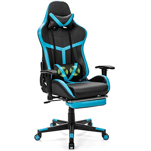 POWERSTONE Gaming Chair - Racing Chair with Massage Lumbar Support and Footrest - Computer Gaming Chair Office Chair PU Leather Ergonomic Headrest High-Back Recliner Swivel Chair, Blue