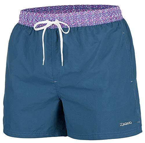 Zagano Badehose Herren Jungen Badeshorts Männer Schwimmhose Sporthose kurz Shorts S-6XL, Hergestellt in der EU (Midnight-blau, 5XL)