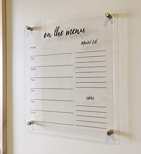 Acrylic Menu Board for Kitchen - Dry Erase Weekly Meal Planner and Grocery List for Wall - Beautiful Clear Acrylic Dry Erase Board for Wall (Liquid Chalk Marker, Eraser & Mounting Hardware Included)