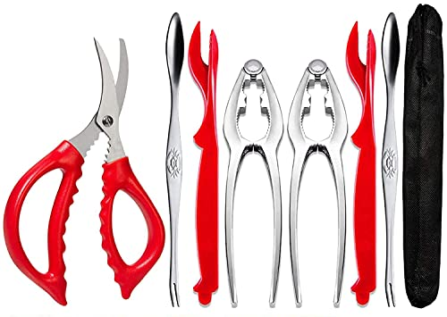 Crab Leg Crackers and Tools - Lobster Crackers and Picks Set Shellfish Crab Claw Cracker Stainless Steel Seafood Crackers & Forks - lobster tools for eating