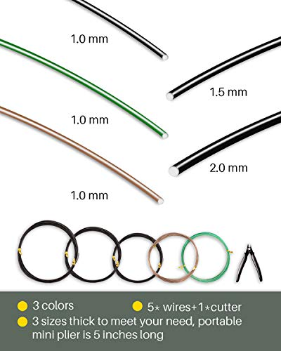 Mohern bonsai wire and bonsai tool kit, total 164 feet bonsai tree wire for bonzai trees indoor, size of 1-mm, 1. 5-mm, 2… 7 quality: good-quality aluminum material with paint to prevent rusting, easy to mold and bend with hands, easy to be cut with wire cutters features: flexible and practical bonsai tree kit, the black, green and brown colors of 1mm thick wire rolls could conceal themselves among the plants applicability: great for bonsai training with bonsai tools, handmade craft making, jewelry making and so on