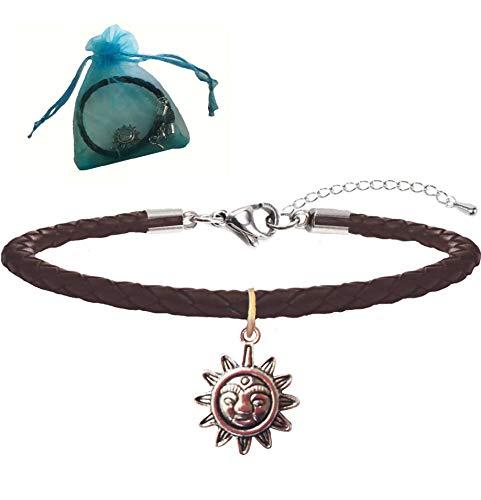 """Armband """"Sun"""" - Leder Geflochten - Tibetische Sonne Anhänger indischem Silber Herren Damen Bracelet Nichelfrei Fusskettchen Fußkette Vintage Geschenkpaket Weihnachtsgeschenk"""