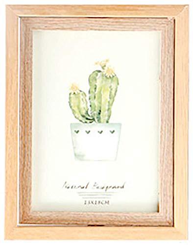 AMAZING1 Holz-Bilderrahmen, dekorativer Klapptisch, Schreibtisch, Bilderrahmen mit Echtglas, Beige, 1 vertikale Öffnung, 12,7 x 17,8 cm