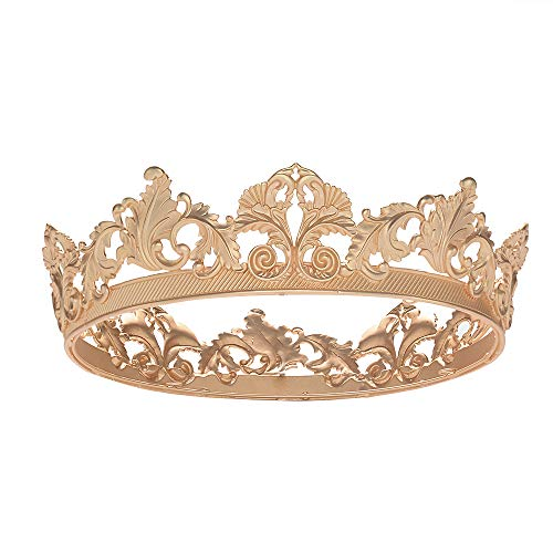 S SNUOY King Crown for Men Queen Crown Royal Costume Accessory Prom Tiara - Matte Gold