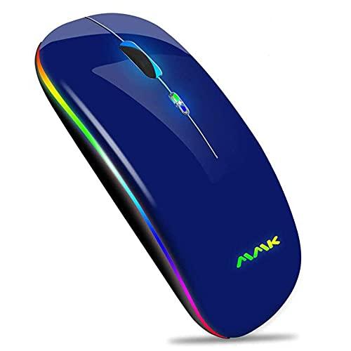 Kabellose Bluetooth Maus,schlanke Maus 2.4G tragbare optische USB-Funkmäuse, wiederaufladbare LED-Dual-Mode-Maus (Bluetooth 5.0 und 2.4G drahtlos) für Laptop, PC,iOS, Android, Windows(Dunkelblau)
