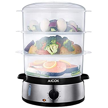 Food Steamer 9.5 Quart Vegetable Steamer, 800W Fast Heating Electric Steamer including 3 Tier Stackable Baskets with Rice bowl, Stainless Steel