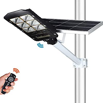 300W LED Solar Street Lights, Outdoor Dusk to Dawn Pole Lights with Remote Control, 660 LEDs, Waterproof, for Parking Lot, Pathway, Garden, Yard, Patio(Cool White)