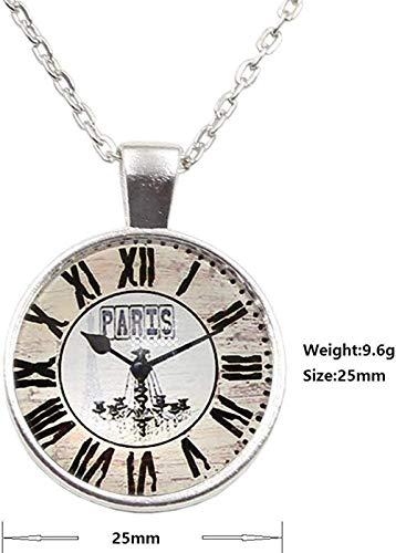 JSYHXYK Collar Joyería Vintage París Reloj Relojes De Bolsillo Encantador Cabujón De...