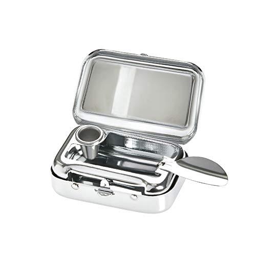 TIMESETL 携帯灰皿 灰皿 ステンレス 吸殻入れ 密閉式 おしゃれ 軽量 携帯便利 シルバー