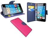 Elegante–Funda de Libro para el Microsoft Lumia 950en Rosa de Color Azul (2Colores) Wallet portatil de Style @ Energmix