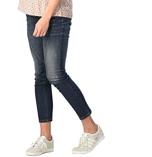 Christoff Schwangerschaftshose Umstandsjeans Five-Pocket-Jeans - Slim - normaler Bund Used-Optik - elastisches Bauchband - 22/94 - blau - 36 / L30