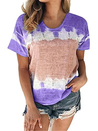 Tops Mujer Sueltas Cómodas Moda Estampado Cuello Redondo Manga Corta Verano Dulce Chic Vacaciones Casual Citas Ropa Casual Diaria Camiseta Mujer Blusa Mujer C-Purple M