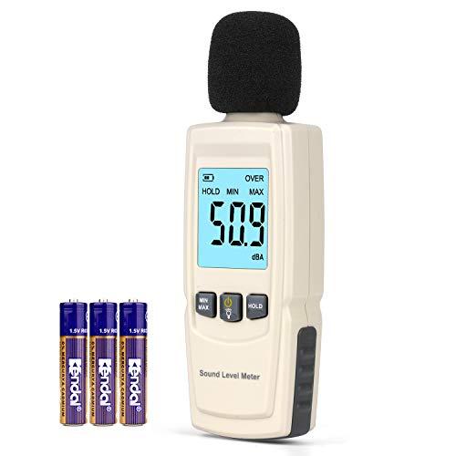 Digital Sound Level Meter, Decibel Meter with Backlight Portable Sound Pressure Level Meter (SPL)30~130 dBA, Sound Noise Meter Audio Volume Monitoring Instrument Meter for Home Office (Beige-White)