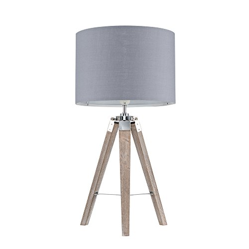 Modern Distressed Wood and Silver Chrome Tripod Table Lamp with a Grey Cylinder Light Shade