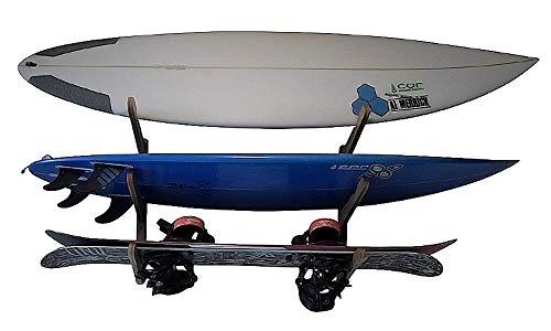 Soporte de pared para tres tablas | sostiene 3 tablas de surf | Expositor para tablas de surf | Longboard Shortboard | Junta Kite | Snowboard (bambú y madera dura)