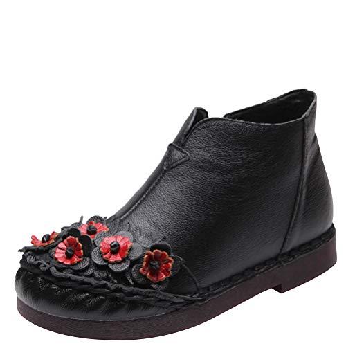 Vogstyle Damen Beiläufig Blumen Handgefertigt Schuhe Art 5 Schwarz ASINA 41