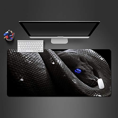 Honghuahui Cool Balck Blue Eye slang, hoogwaardige muismat voor laptop, toetsenbord, bureau, kerstcadeau 600x300x2mm