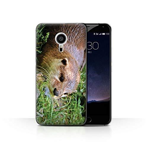 Handy Hülle kompatibel mit Meizu Pro 5 Süß Baby Tier Fotos Entzückender Otter Zoo Transparent Klar Ultra Dünne Handyhülle Hülle Cover