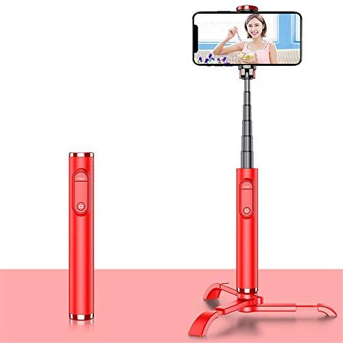 MHCYKJ Selfie Stick Bluetooth Pieghevole Selfie Stick Tripode in Lega di plastica Selfie Stick per iPhone Xiaomi Huawei,Rosso