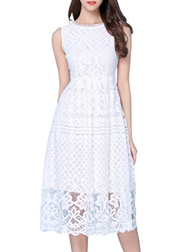 VEIISAR Women's Sleeveless Round Neck Scalloped Prom Lace Cocktail Party Dress White XL