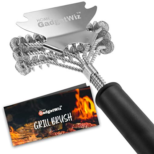 GadgetWiz Grill Brush Bristle Free & Scraper - Safe BBQ Brush for Grill - Non Wire Stainless Grill Cleaner/Cleaning Brush-Best BBQ Accessories Scrubber - Safe for Porcelain/Gas/Charbroil Grates
