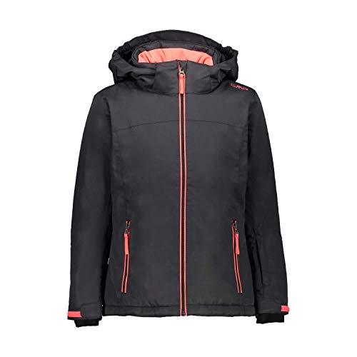 CMP Mädchen Skijacke Girl Jacket Snaps Hood 39W2085 Antracite-Red Fluo 104