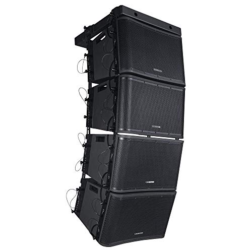 """Sound Town ZETHUS Series 4 x 12"""" Powered 2-Way Line Array Loudspeaker System with Two Titanium Compression Drivers, Black for Live Sound, Club, Bar, Restaurant, Church and School (ZETHUS-112BPWX4)"""