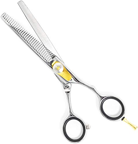 Equinox Professional Razor Edge Series - Barber Hair Thinning/Texturizing Scissors/Shears - 6.5 Inches Overall Length with Fine Adjustment Tension Screw - Stainless Steel