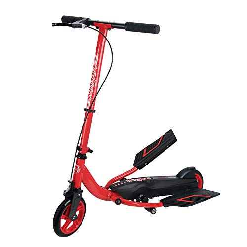 Inflatable Rubber Wheel Teens Pedal Scooter, Exercise Stepper Scooter Bike for Youngsters, White Color Youth Kick Scooter