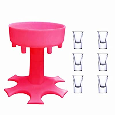 Prime 6 Ways Shot Glass Dispenser with 6 Acrylic Cups,Glasses Hanging Holder Stand Rack,Carrier Caddy Dispenser with 6 Acrylic Cups for Cocktail Party Get Togethers Weekend (Pink)