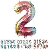 PARTY Globos de Cumpleaños - Número Grande en Multicolor Metalizado - Fiesta de cumpleaños y Aniversarios - Gigante 105 cm - Hinchable - Tamaño XXL (2-Multicolor)