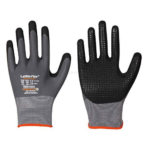 1 Paar LeiKaFlex® Feinstrick-Handschuhe mit Nitril-Foam-Beschichtung + Noppen grau/schwarz Größe 7