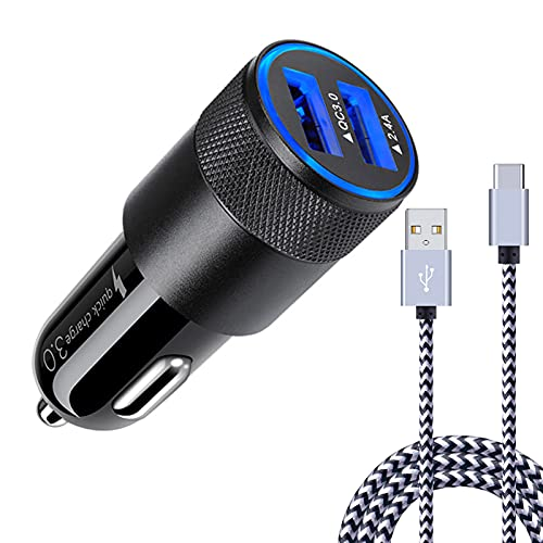 [5.4A/30W] Fast Car Charger Type C 6ft Cable for Samsung Galaxy S21 S20 Ultra FE S10e S10 S9 S8 Plus, Note 20 10 9 8, A20 to A90, LG Stylo 4/5/6, Moto G8 G7 G6, Quick USB Car Charger Adapter Plug
