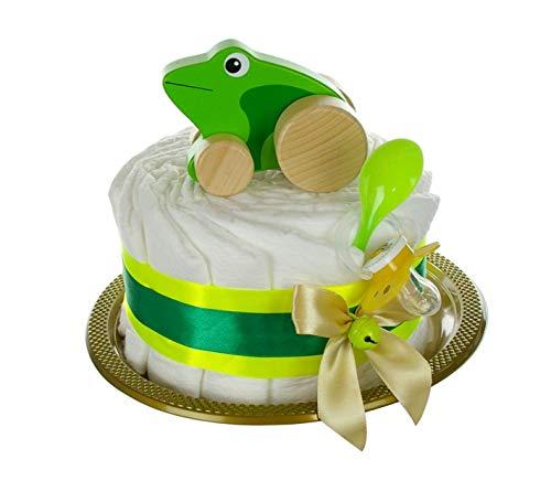 Windeltorte Holzspielzeug Frosch mit Rollen grün - Geschenk zur Geburt neutral - 20-teilig