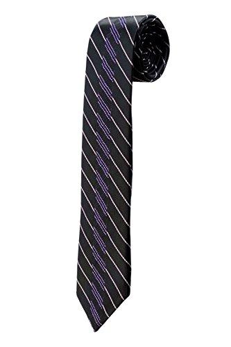 Cravate fine noire à rayures mauves et violettes DESIGN étroite costume slim