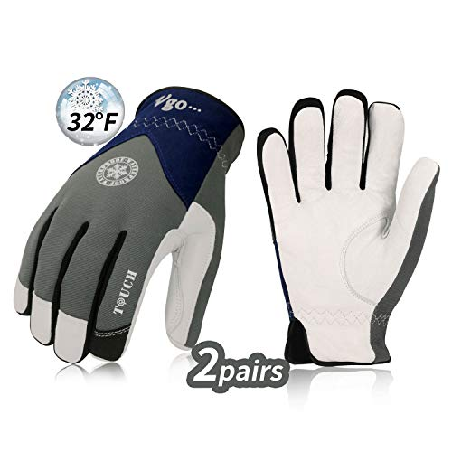 Vgo 2Pairs 32 or above 3M Thinsulate C40 Goatskin Leather Waterproof Winter Gloves (Size L,Grey,GA7356FW)