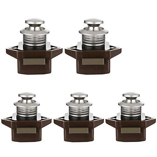 5 Stück Push Button Catch Door Lock Verriegelung Keyless-Schrank Lock Catch Schrankknopf Lock für Pferdeanhänger Camper Braun