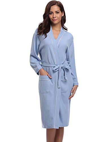 Aibrou Damen Baumwolle Sommer Bademantel Leicht Mantel Morgenmantel V Kragen Waffel Typ Saunamantel Frottee(Blau M)